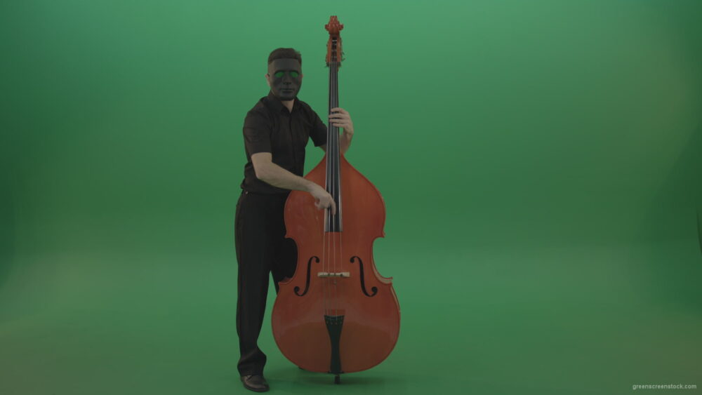 vj video background Full-size-man-in-black-gead-mask-with-chromakey-eyes-play-jazz-on-double-bass-String-music-instrument-isolated-on-green-screen_003