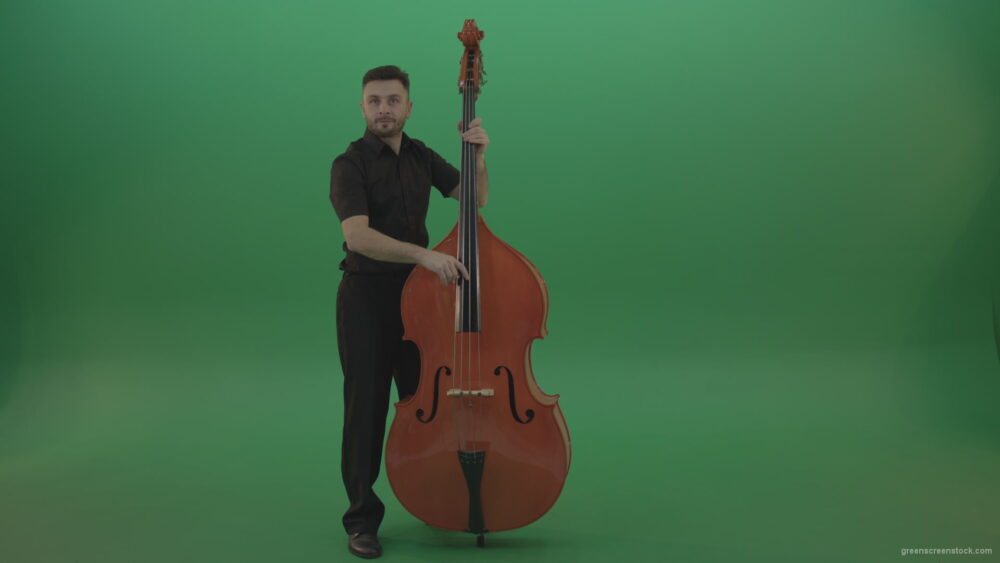 vj video background Full-size-man-in-black-uniform-play-jazz-rock-on-double-bass-String-music-instrument-isolated-on-green-screen_003
