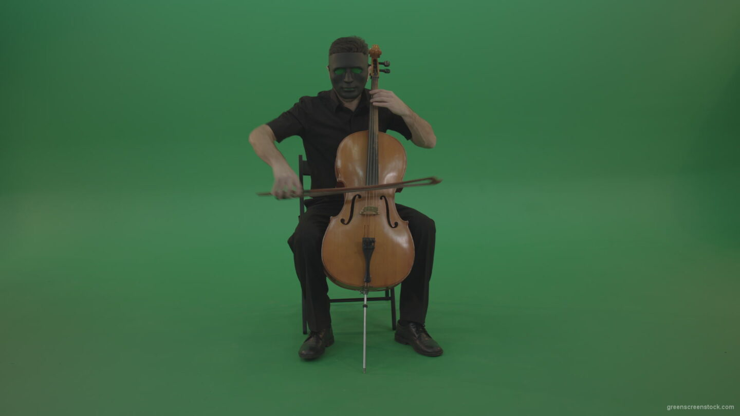 vj video background Full-size-man-in-black-wear-and-mask-play-violoncello-cello-strings-music-instrument-isolated-on-green-screen_003