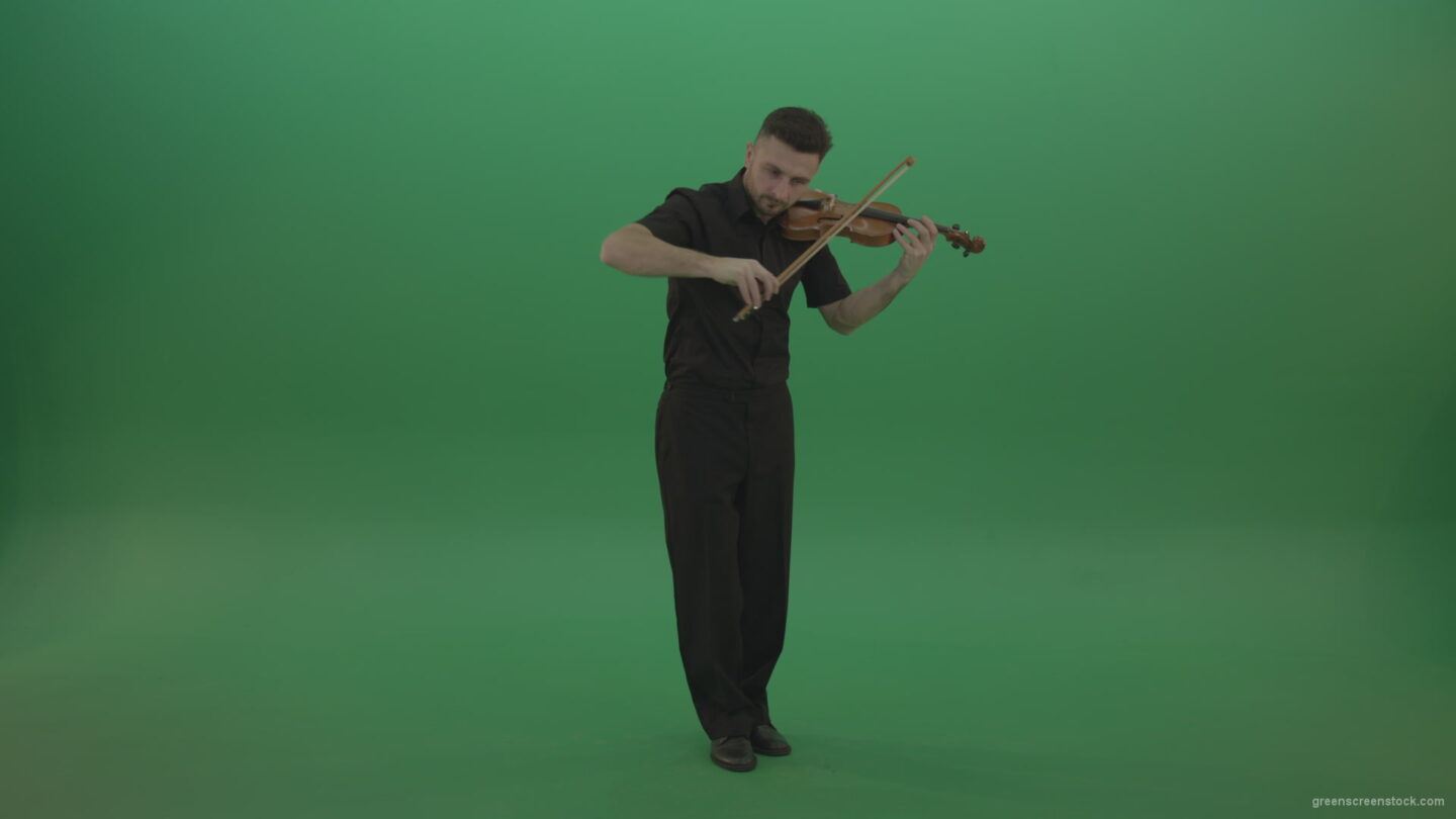 vj video background Full-size-view-virtuoso-Man-in-black-costume-play-violin-fiddle-strings-music-instument-on-green-screen_003