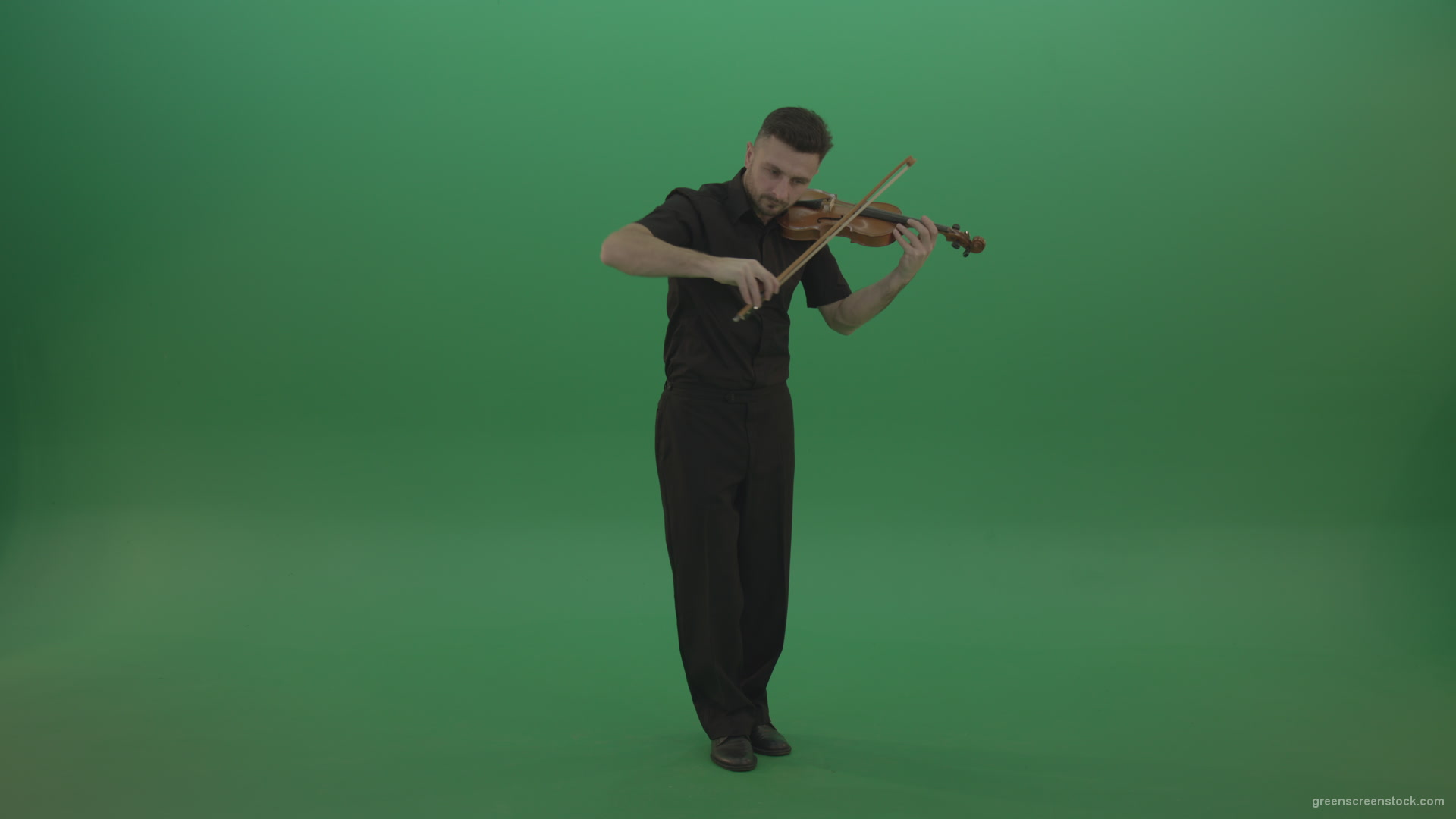 Full size view virtuoso Man in black costume play violin fiddle strings  music instument – Green Screen Video Footage