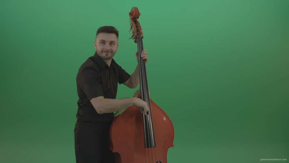 vj video background Funny-happy-man-with-smile-playing-jazz-on-double-bass-String-music-instrument-isolated-on-green-screen_003