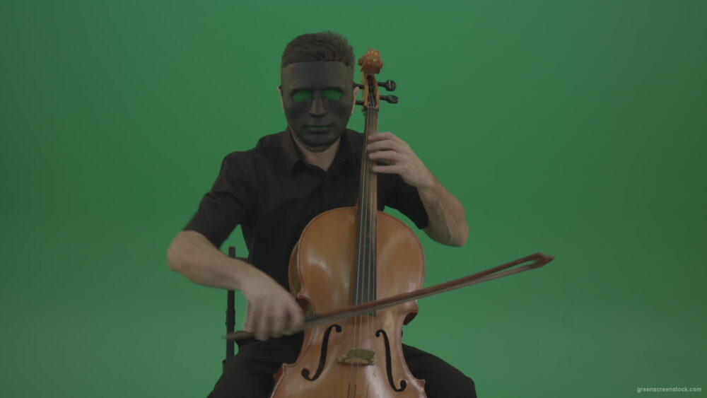vj video background Gothic-Man-in-black-mask-playing-violoncello-cello-strings-music-instrument-isolated-on-green-screen_003