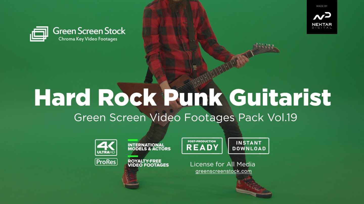 Green Screen Stock Product Image HARD ROCK GUITARIST