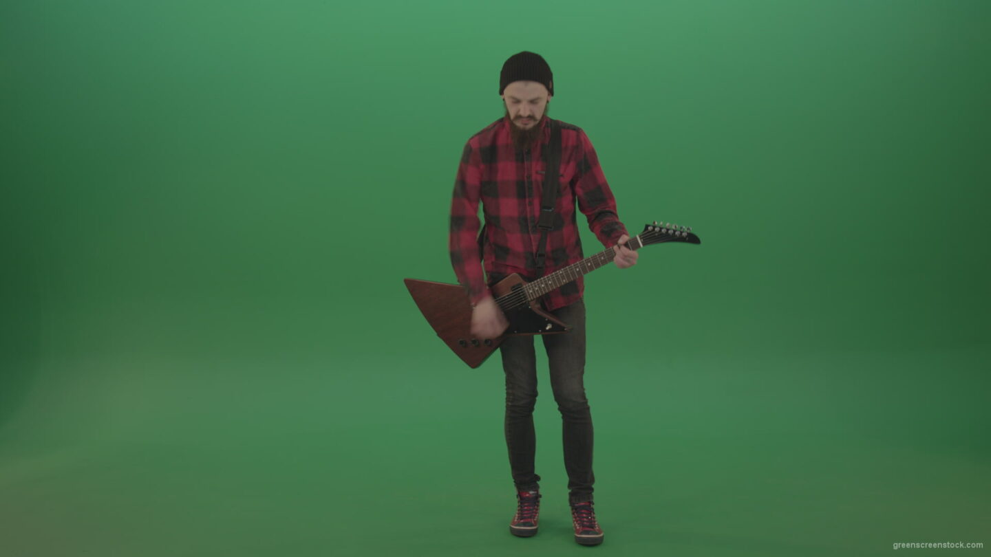 vj video background Green-Screen-man-Guitarist-play-electro-rythm-guitar-isolated-on-green-screen_003
