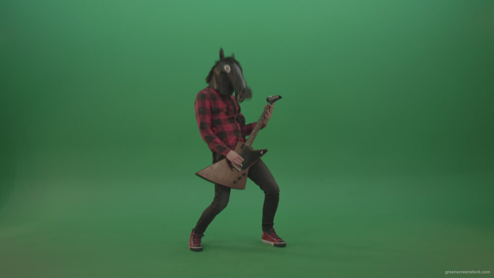 vj video background Guitarist-horse-man-with-horse-mask-head-play-guitar-on-green-screen_003