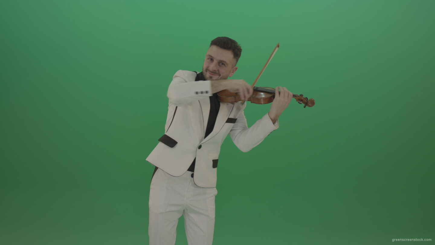 vj video background Happy-man-in-white-costume-dramatic-playing-violin-music-instrument-isolated-on-green-screen_003
