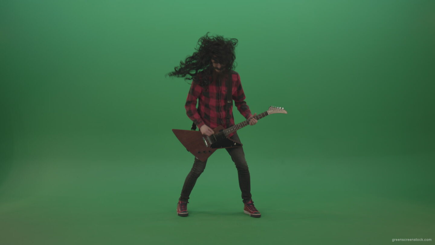 vj video background Long-black-hair-hardcore-rock-man-guitarist-play-guitar-and-shaking-head-isolated-on-green-screen_003
