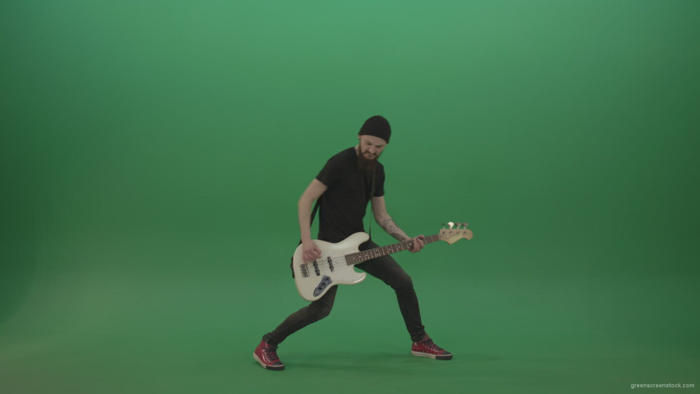 vj video background Man-enjoy-to-play-hard-rock-bass-guitar-isolated-on-green-screen-4k-footage_003
