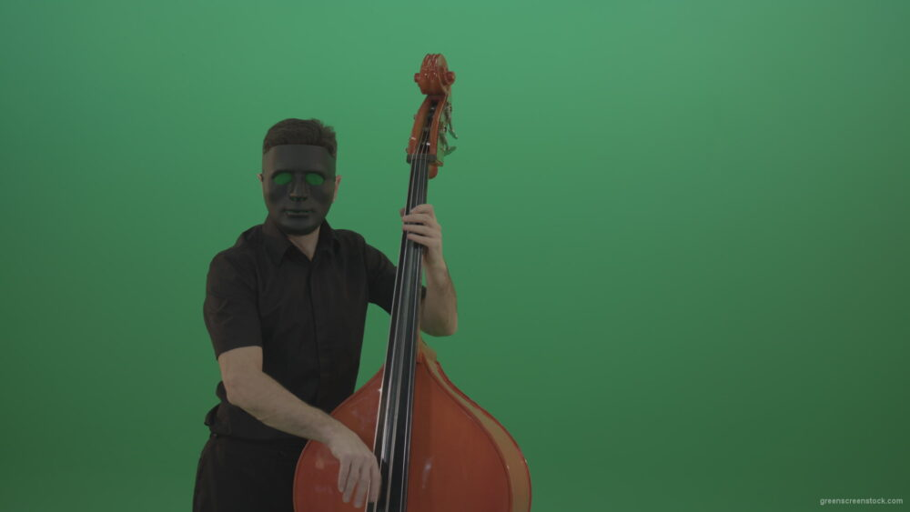 vj video background Man-in-black-mask-with-green-eyes-play-music-on-double-bass-instrument-isolated-on-green-screen_003