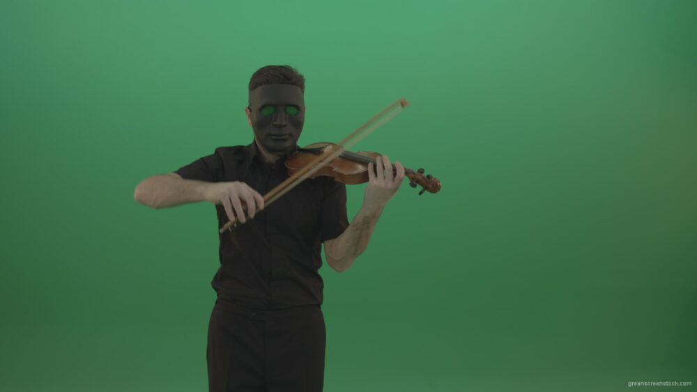 vj video background Man-in-black-shirt-and-mask-fast-play-violin-fiddle-strings-gothic-music-isolated-on-green-screen_003