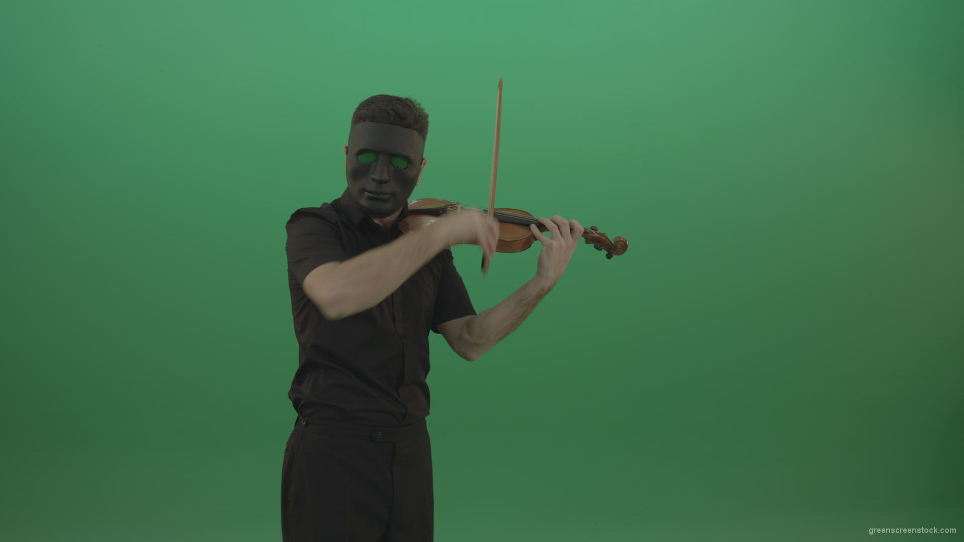 Man In Black Wear And Mask Play Violin Fiddle Strings Gothic Dark Music Isolated Green Screen Video Footage Green Screen Stock