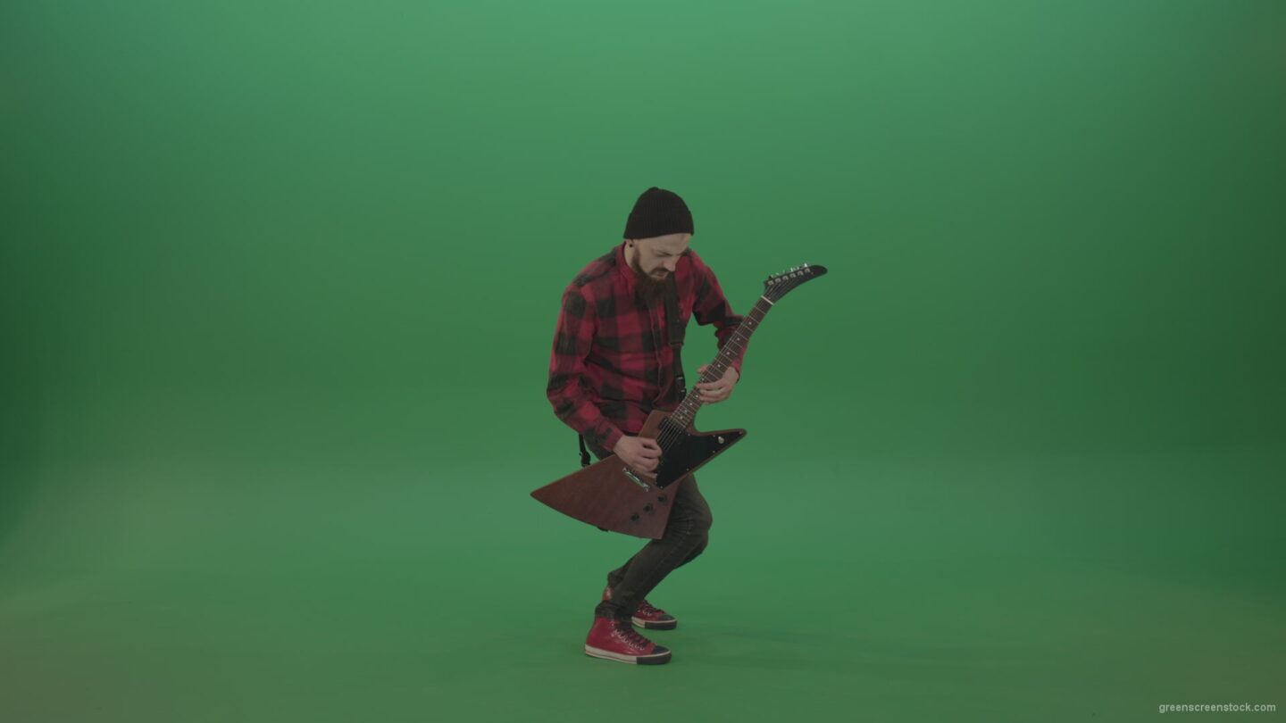 vj video background Man-in-red-shirt-play-virtuoso-solo-on-elektro-guitar-on-green-screen_003