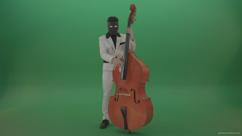 vj video background Man-in-white-costume-and-blac-mask-play-jazz-music-on-double-bass-orchestra-music-instument-isolated-on-green-screen_003
