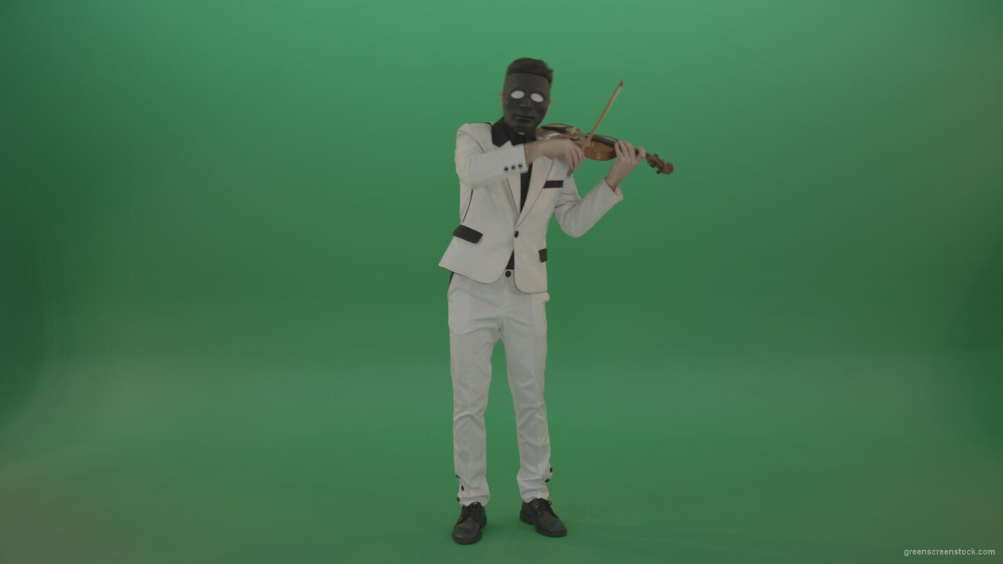 vj video background Man-in-white-costume-and-eyes-in-black-mask-play-gothic-violin-Fiddle-string-music-instrument-isolated-on-green-screen_003