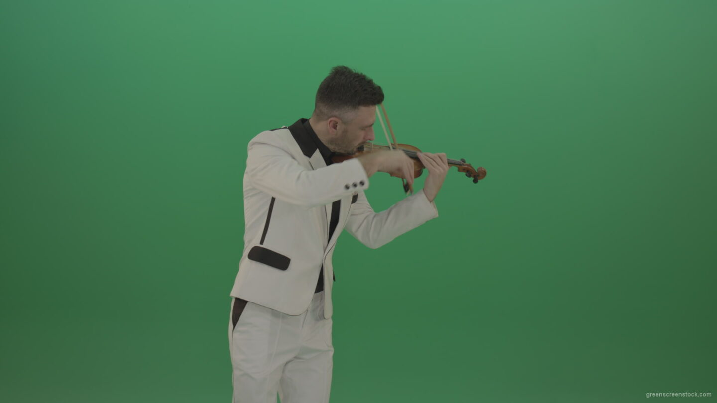 vj video background Man-is-playing-slow-love-in-white-costume-on-violin-Fiddle-string-music-instrument-isolated-on-green-screen_003