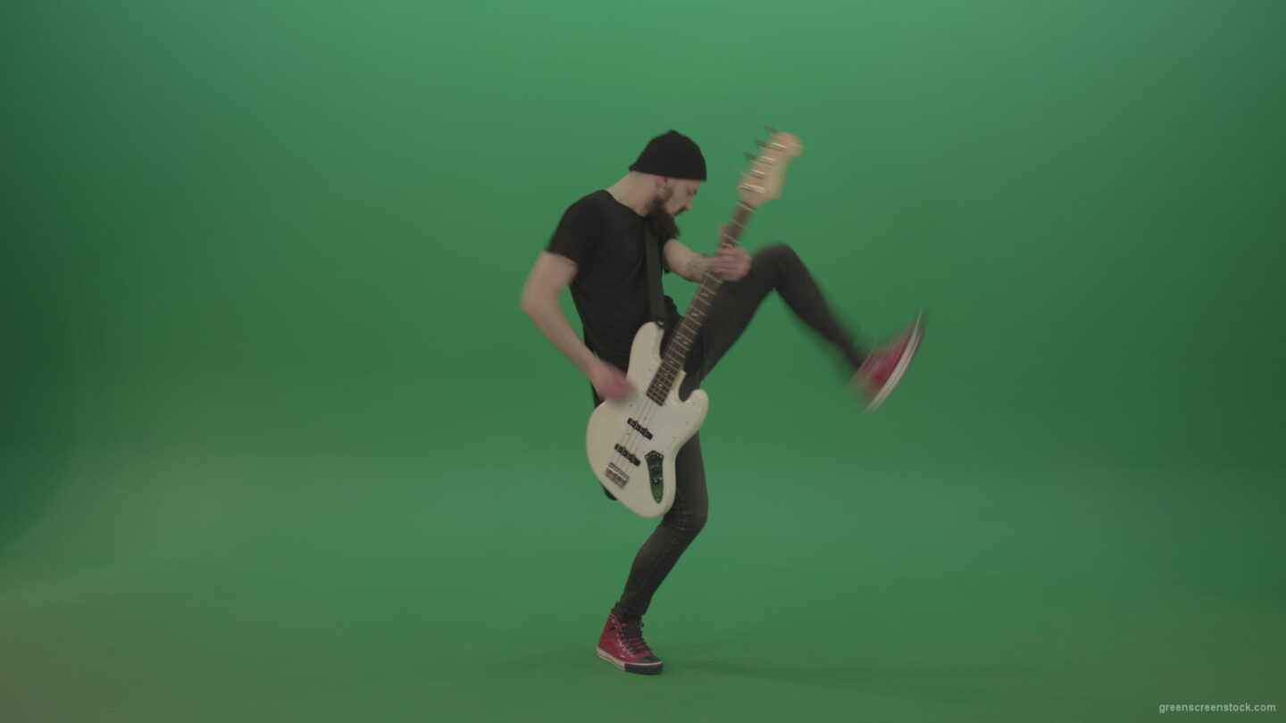 vj video background Man-play-music-instrument-bass-guitar-isolated-on-green-screen_003