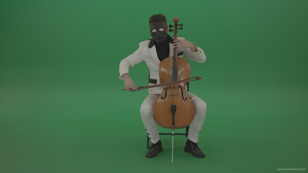 vj video background Man-plays-on-a-cello-in-a-white-suit-and-a-black-mask-with-white-eyes_003