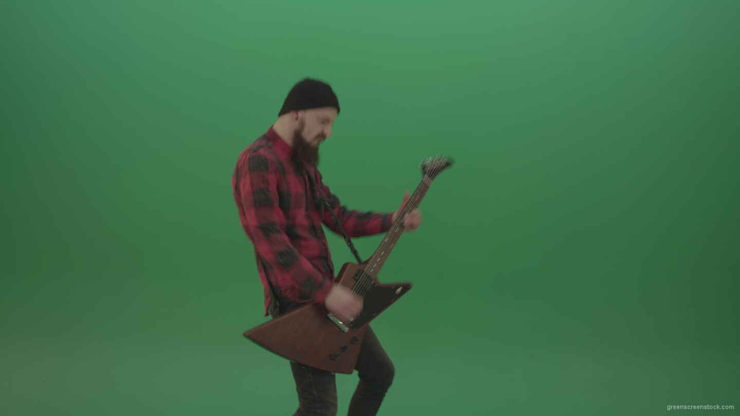 vj video background Man-punk-hardrock-guitarist-playing-guitar-in-side-view-in-green-screen-studio_003