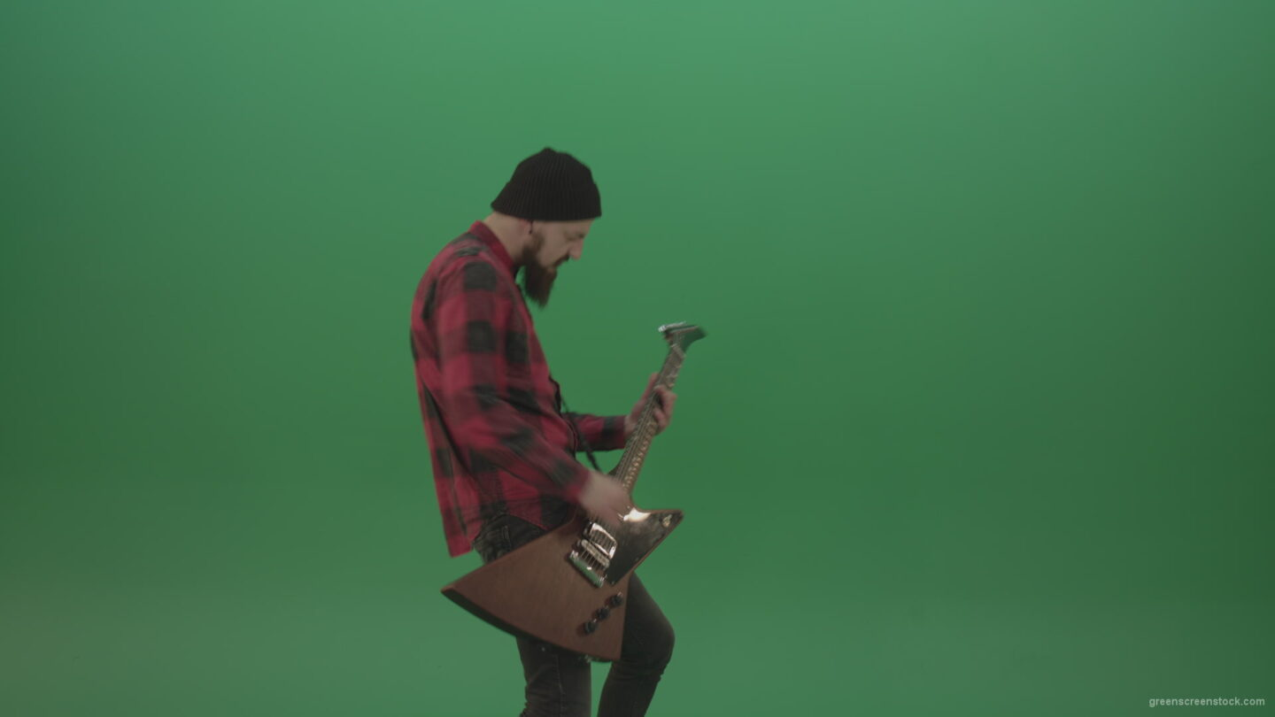 Man-punk-hardrock-guitarist-playing-guitar-in-side-view-in-green-screen-studio_008 Green Screen Stock