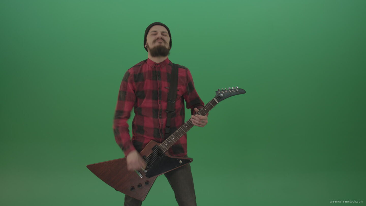 vj video background Old-man-with-beard-play-rock-guitar-isolated-on-green-screen-background-4K_003