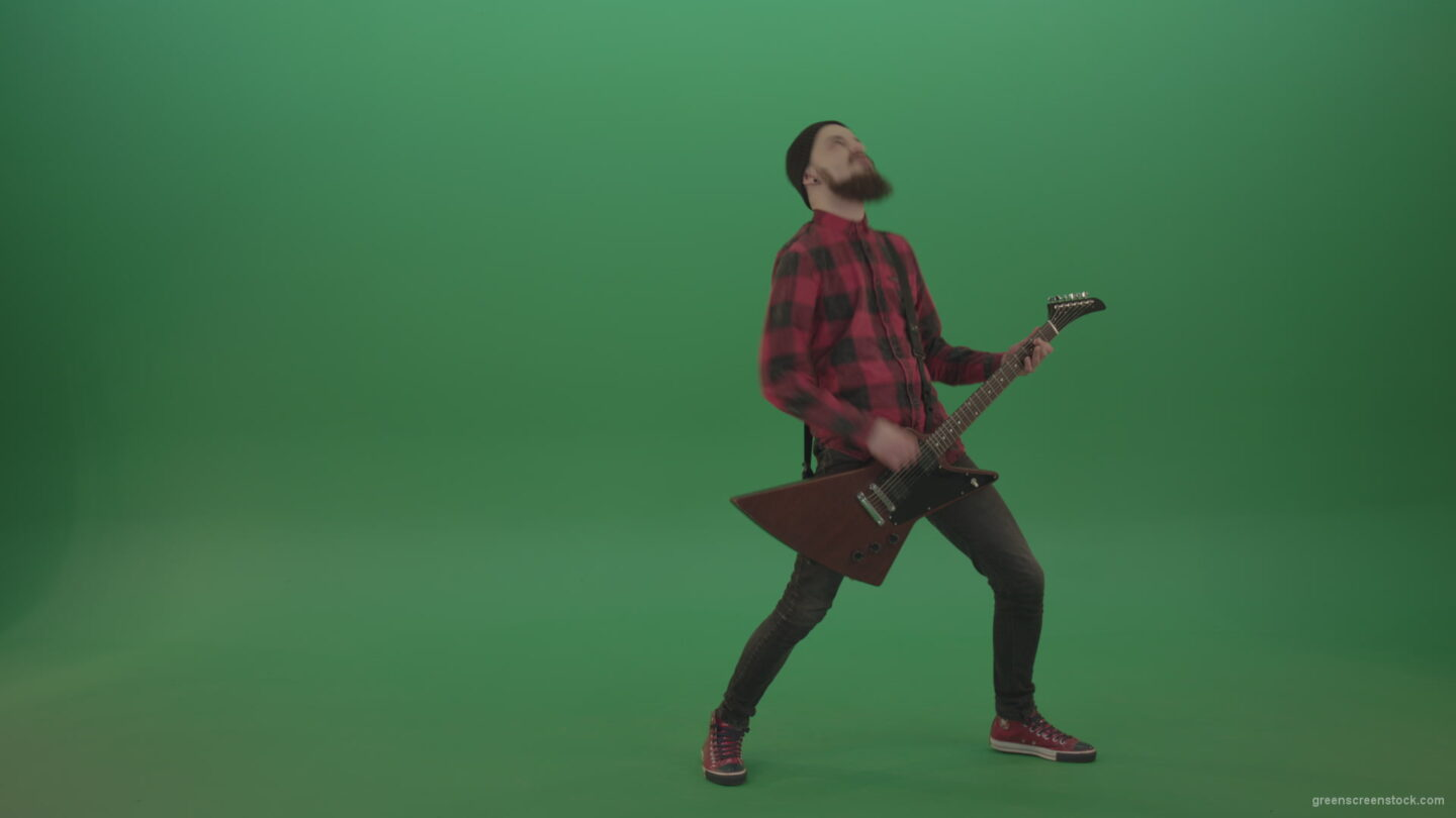 vj video background Punk-rock-full-size-man-guitarist-play-guitar-with-emotions-on-green-screen_003