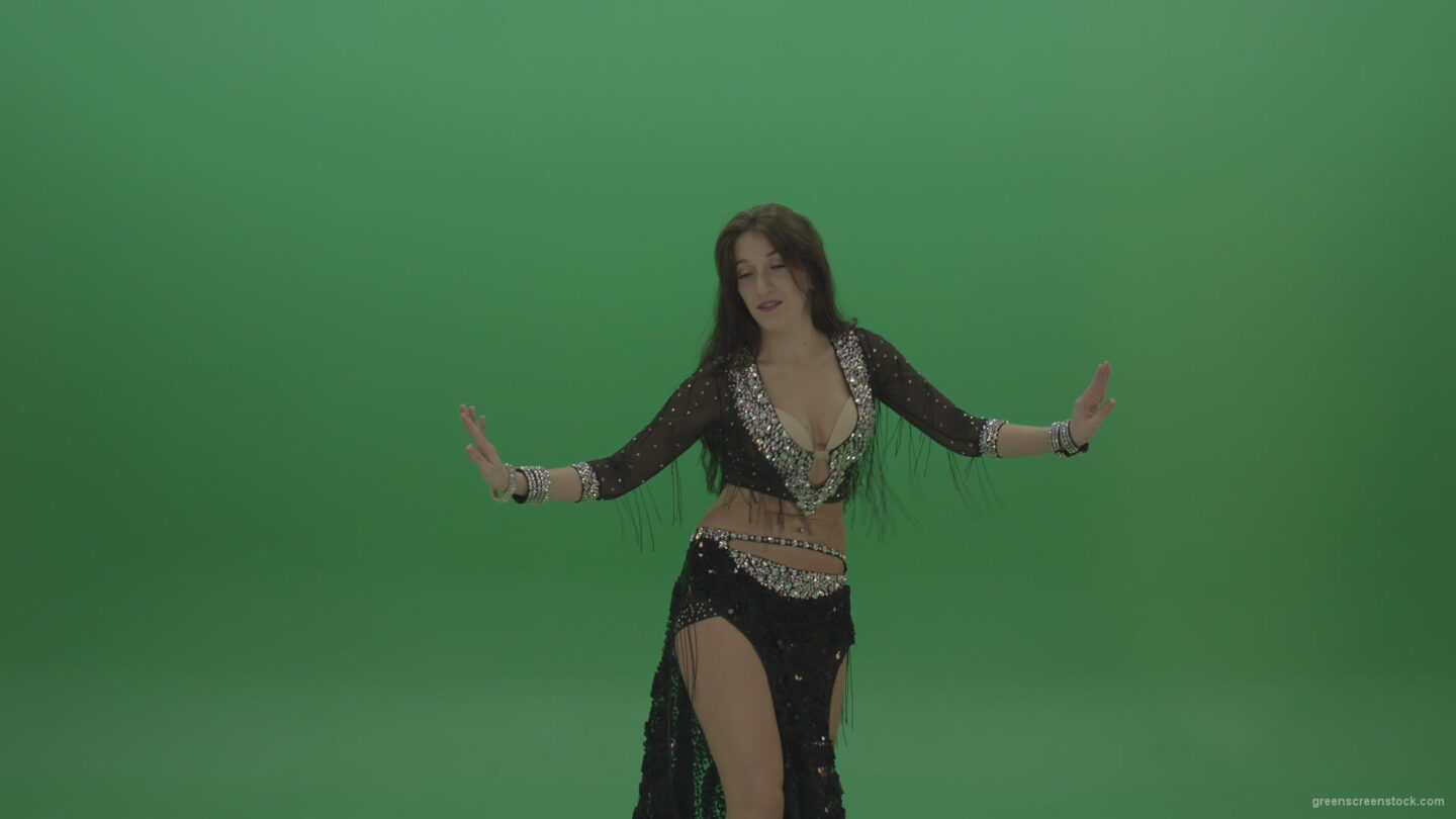 vj video background Refined-belly-dancer-in-black-wear-display-amazing-dance-moves-over-chromakey-background_003