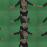 Stunning-belly-dancer-in-black-wear-display-amazing-dance-moves-over-chromakey-background Green Screen Stock