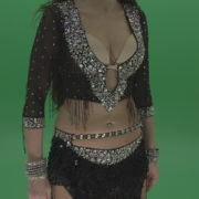 Stunning-belly-dancer-in-black-wear-display-amazing-dance-moves-over-chromakey-background_001 Green Screen Stock