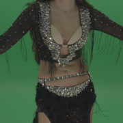Stunning-belly-dancer-in-black-wear-display-amazing-dance-moves-over-chromakey-background_002 Green Screen Stock