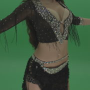 Stunning-belly-dancer-in-black-wear-display-amazing-dance-moves-over-chromakey-background_005 Green Screen Stock
