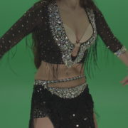 Stunning-belly-dancer-in-black-wear-display-amazing-dance-moves-over-chromakey-background_006 Green Screen Stock