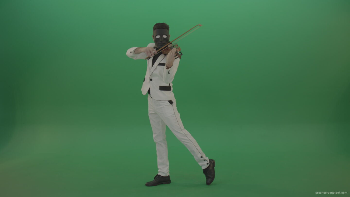 vj video background Violinist-in-a-white-jacket-and-in-a-black-mask-with-white-eyes-plays-melodically-on-the-violin_003