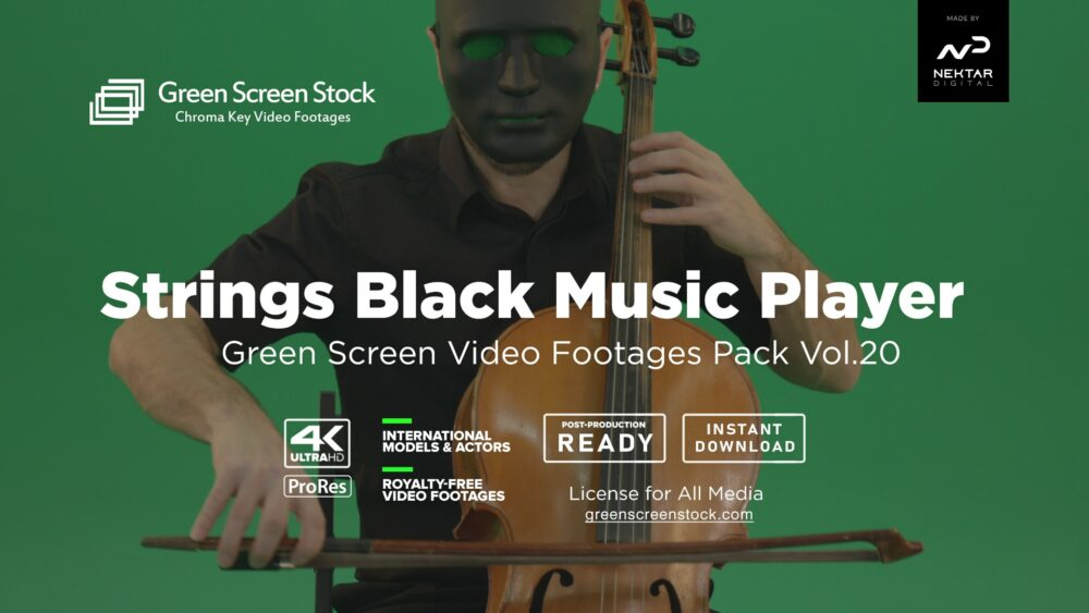 strings black man in mask green screen