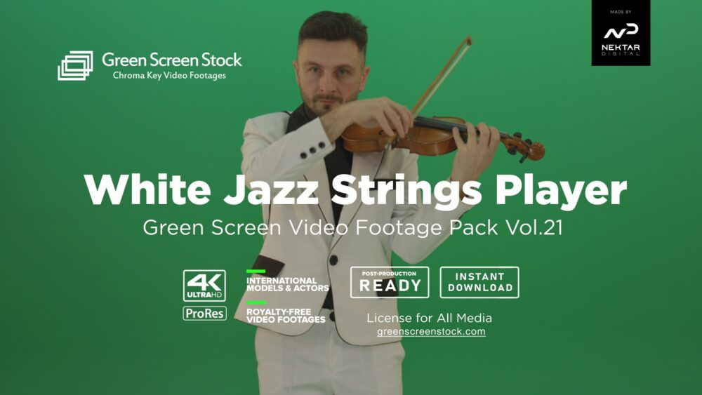 white jazz man play violin green screen