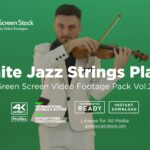 white jazz man play violin green screen