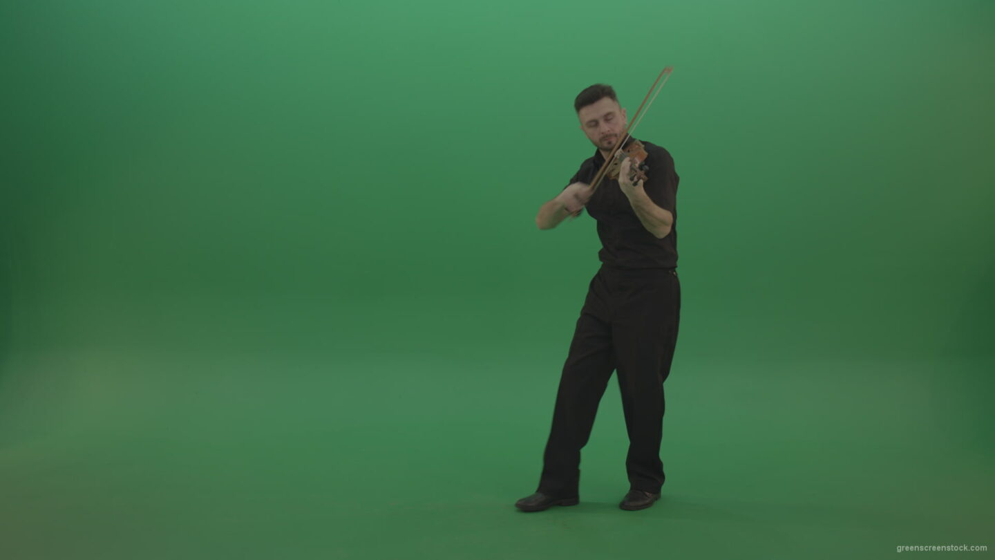 vj video background Young-Man-in-black-costume-play-violin-fiddle-strings-music-instument-and-move-on-isolated-green-screen_003