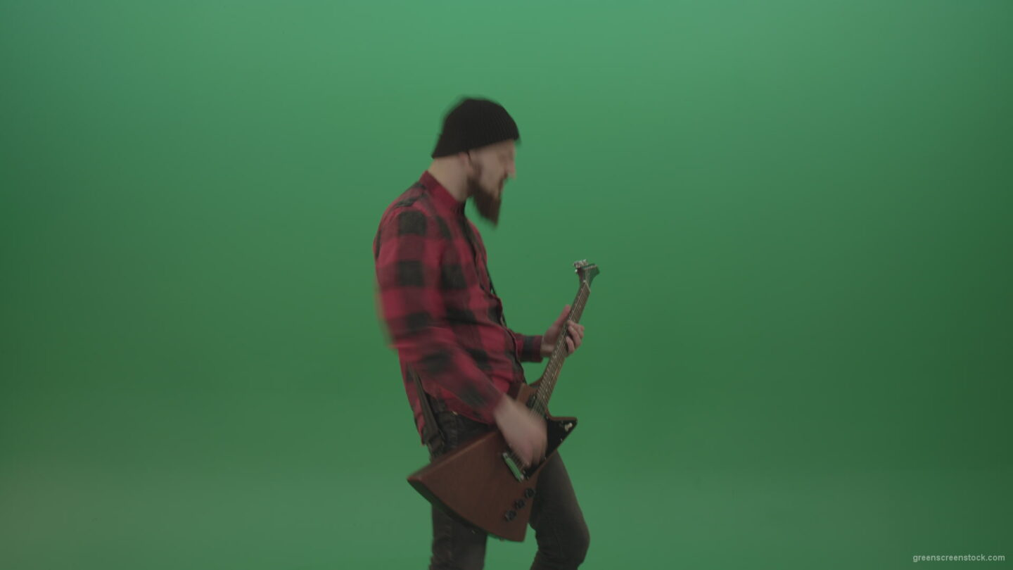 vj video background Young-man-with-beard-play-hardcore-music-on-guitar-in-side-view-on-green-screen-chromakey-background_003