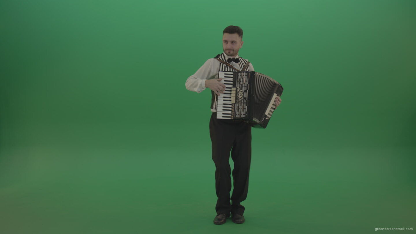 vj video background Accordion-man-play-classic-swing-music-and-dancing-on-green-screen-chromakey_003
