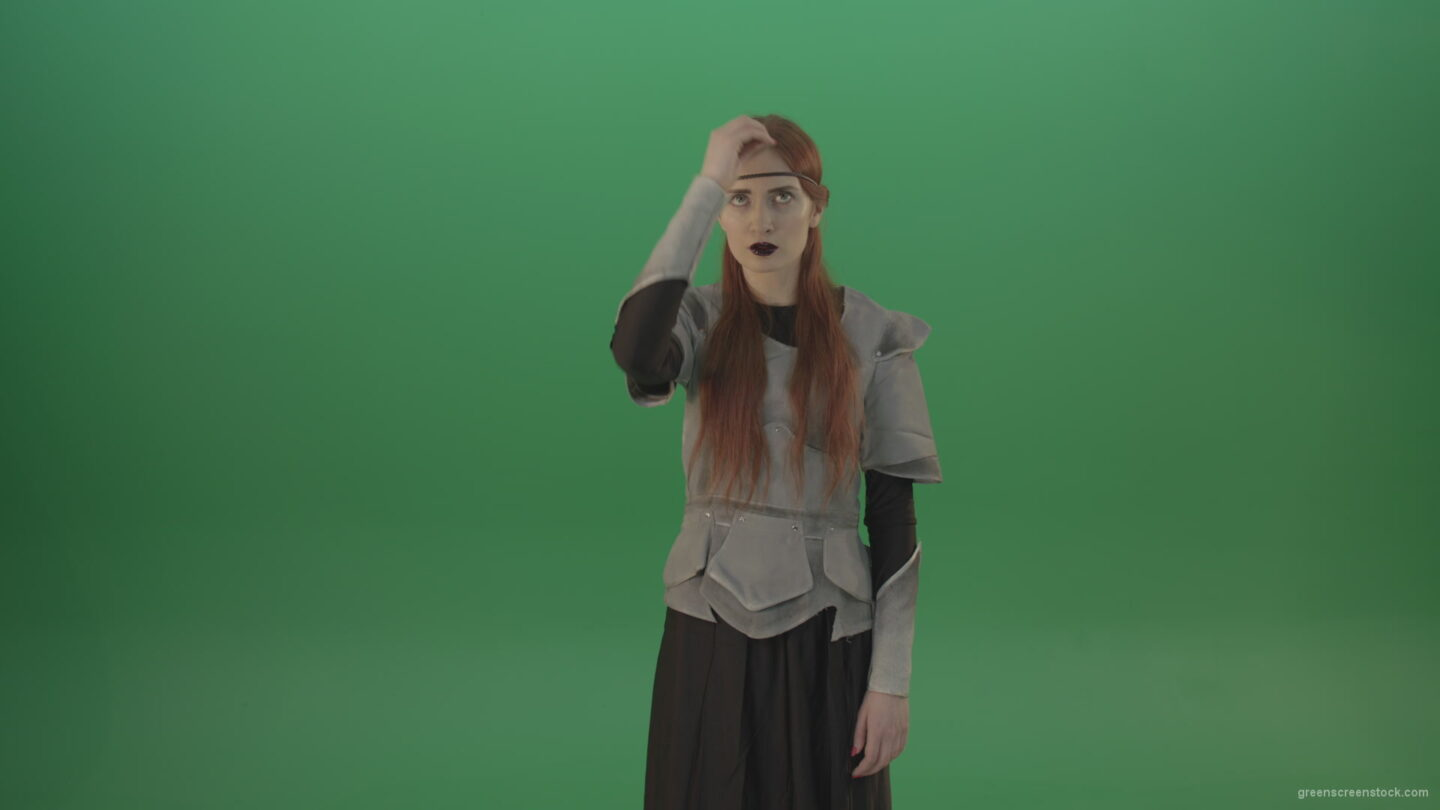 vj video background Actress-red-hair-girl-in-a-medieval-war-dress-crosses-praying-to-God-on-green-screen_003