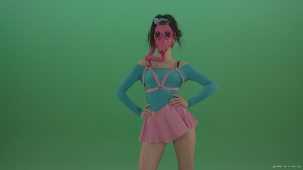 vj video background Beautiful-erotic-dance-from-a-woman-in-a-mask-in-a-pink-suit-on-green-background_003