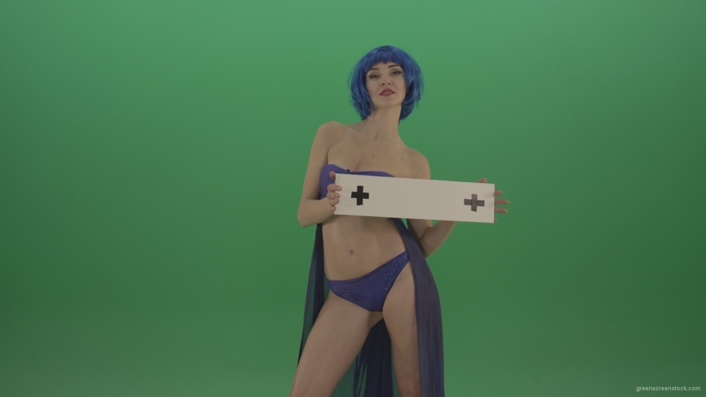 vj video background Blue-hair-elegant-naked-girl-posing-with-text-mockup-template-plane-on-green-screen_003