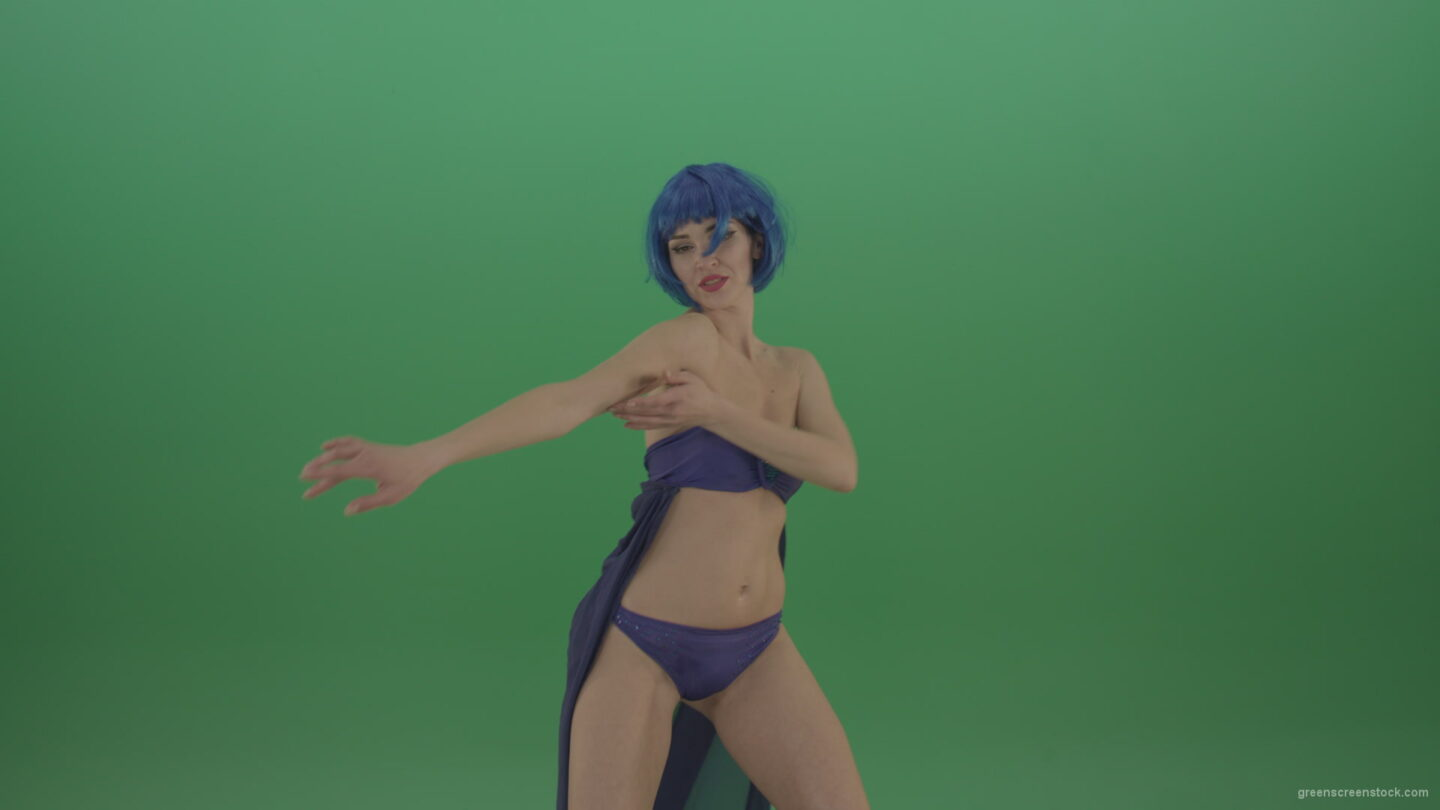 vj video background Blue-hair-girl-dancing-sexy-strip-isolated-on-green-background_003