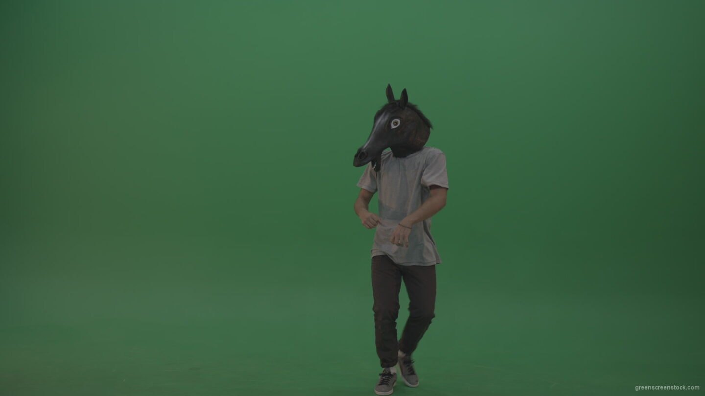 vj video background Boy-in-grey-wear-and-horse-head-costume-dances-over-green-screen-background_003