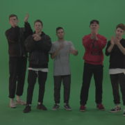 Break-dance-team-applaud-and-cheer-over-chromakey-background_002 Green Screen Stock