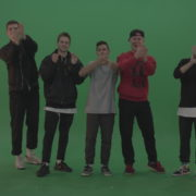 Break-dance-team-applaud-and-cheer-over-chromakey-background_004 Green Screen Stock