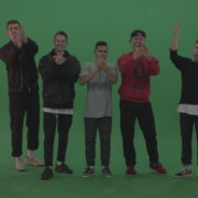Break-dance-team-applaud-and-cheer-over-chromakey-background_005 Green Screen Stock