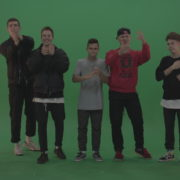 Break-dance-team-applaud-and-cheer-over-chromakey-background_006 Green Screen Stock