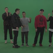 Break-dance-team-applaud-and-cheer-over-chromakey-background_009 Green Screen Stock