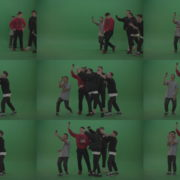 Break-dance-team-take-group-selfies-over-green-screen-background Green Screen Stock